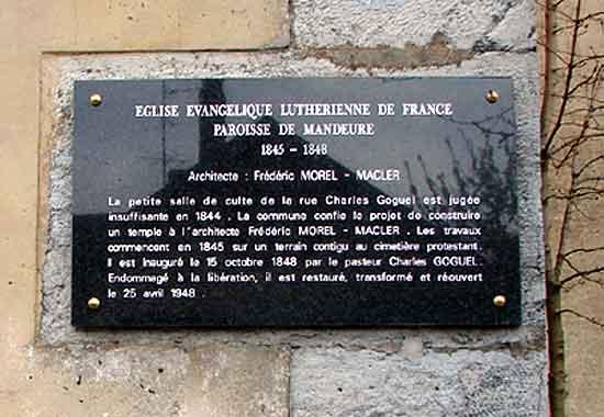 histoire de l'église luthérienne de Mandeure